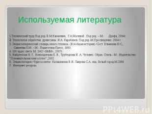 1.Технический труд Под ред. В.М.Казакевич, Г.А.Малевой . Под ред. – М.: Дрофа, 2
