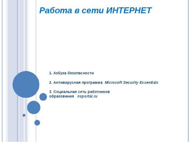 Работа в сети интернет 1. Азбука безопасности2. Антивирусная программа Microsoft Security Essentials3. Социальная сеть работниковобразования nsportal.ru