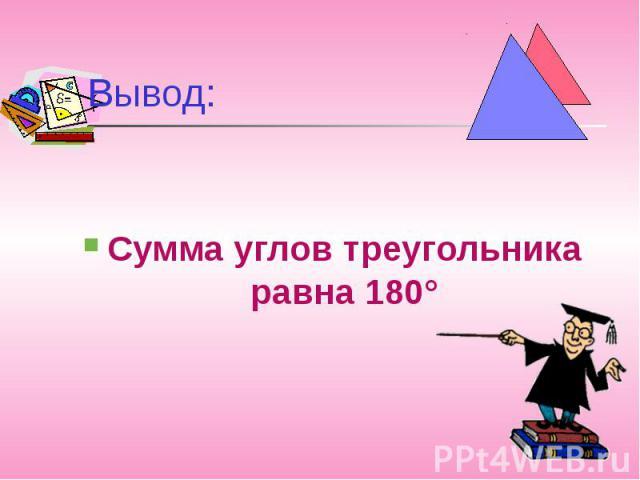 Вывод:Сумма углов треугольника равна 180°