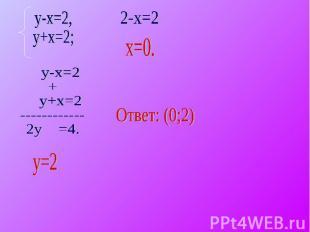 y-x=2,y+x=2; y-x=2+ y+x=2------------2y =4. Ответ: (0;2)
