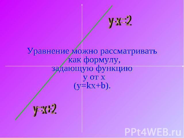 Уравнение можно рассматривать как формулу, задающую функцию y от x(y=kx+b).