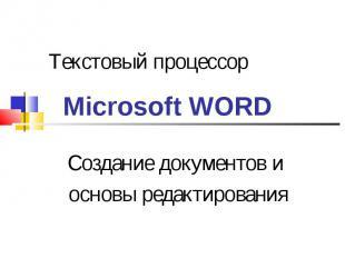 Текстовый процессор Microsoft WORD. Создание документов и основы редактирования