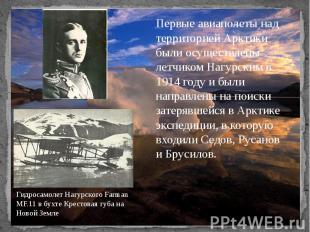 Первые авиаполеты над территорией Арктики были осуществлены летчиком Нагурским в