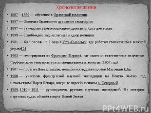 Хронология жизни1887—1889— обучение вОрловской гимназии.1897— Окончил Орловск