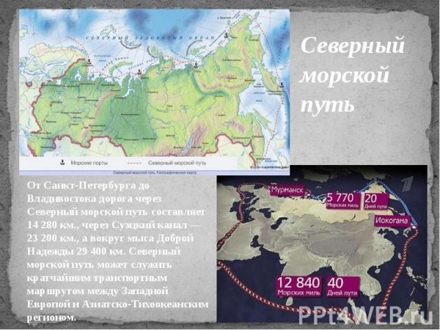 Северный морской путь От Санкт-Петербурга до Владивостока дорога через Северный морской путь составляет 14 280 км., через Суэцкий канал — 23 200 км., а вокруг мыса Доброй Надежды 29 400 км. Северный морской путь может служить кратчайшим транспортным…