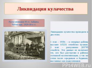 Ликвидация кулачества Раскулачивание Ю.А. Зайцева. Чебоксары. 1929-30-е гг. Ликв