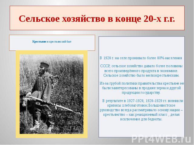 Сельское хозяйство в конце 20-х г.г.Крестьянеи крестьянский быт В 1928 г. на селе проживало более 80% населения СССР, сельское хозяйство давало более половины всего произведённого продукта в экономике. Сельское хозяйство было мелкокрестьянским…