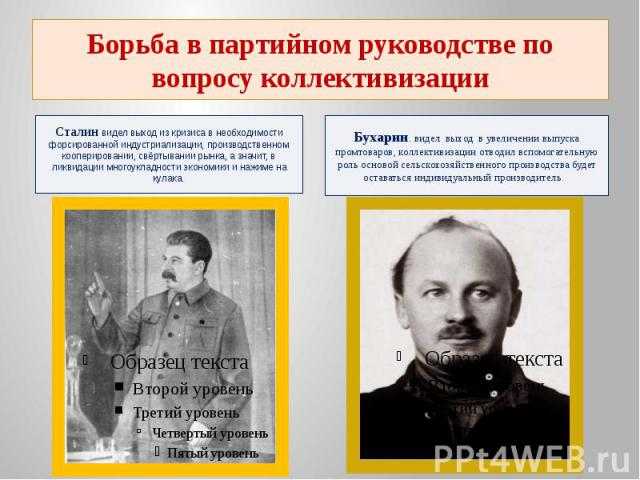 Борьба в партийном руководстве по вопросу коллективизацииСталин видел выход из кризиса в необходимости форсированной индустриализации, производственном кооперировании, свёртывании рынка, а значит, в ликвидации многоукладности экономики и нажиме на кулака.
