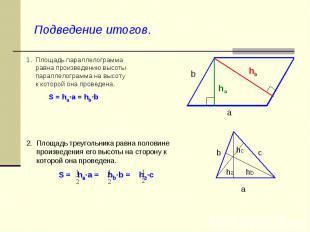 Подведение итогов. 1. Площадь параллелограмма равна произведению высоты параллел