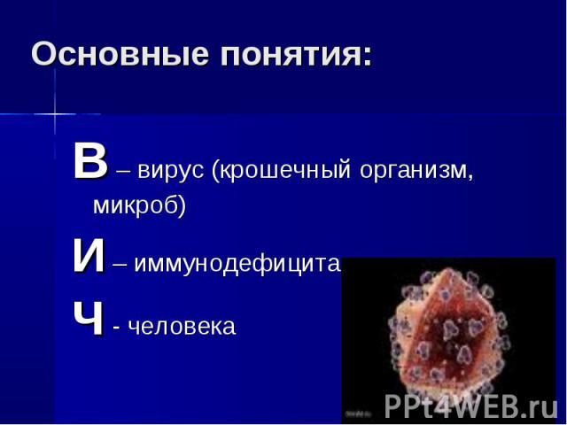 Основные понятия: В – вирус (крошечный организм, микроб)И – иммунодефицитаЧ - человека