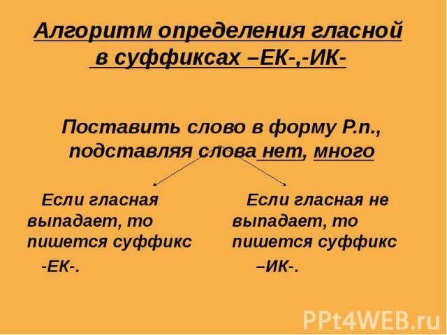 Алгоритм определения гласной в суффиксах –ЕК-,-ИК- Поставить слово в форму Р.п., подставляя слова нет, много Если гласная выпадает, то пишется суффикс -ЕК-. Если гласная не выпадает, то пишется суффикс –ИК-.
