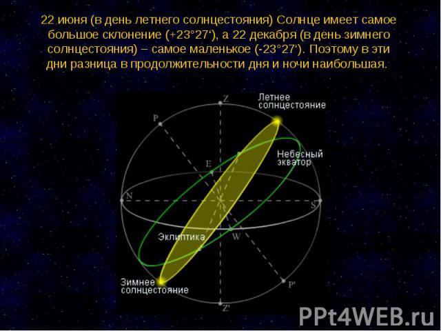 22 июня (в день летнего солнцестояния) Солнце имеет самое большое склонение (+23°27'), а 22 декабря (в день зимнего солнцестояния) – самое маленькое (-23°27'). Поэтому в эти дни разница в продолжительности дня и ночи наибольшая.