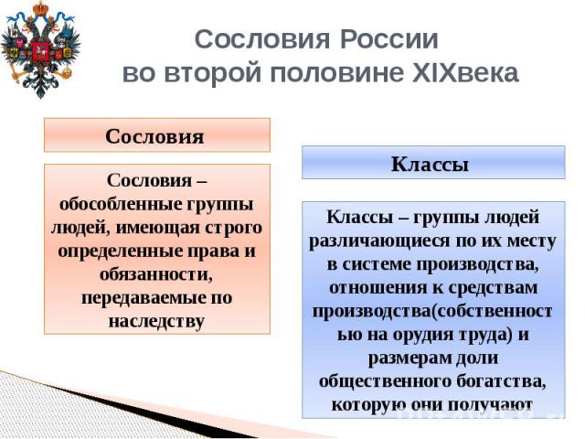Сословия России во второй половине XIXвека Сословия – обособленные группы людей, имеющая строго определенные права и обязанности, передаваемые по наследству Классы – группы людей различающиеся по их месту в системе производства, отношения к средства…