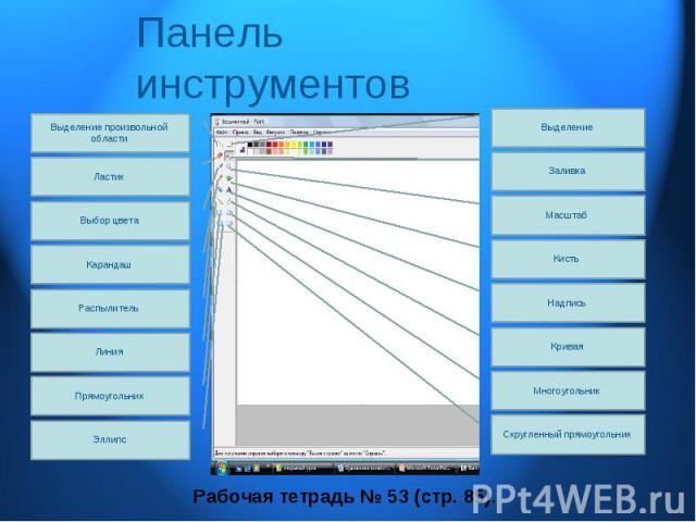 Панель инструментов Рабочая тетрадь № 53 (стр. 85).