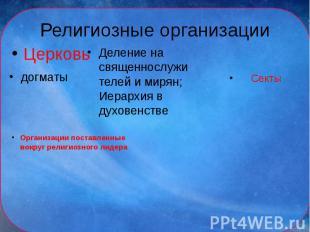 Религиозные организацииЦерковь Деление на священнослужителей и мирян; Иерархия в