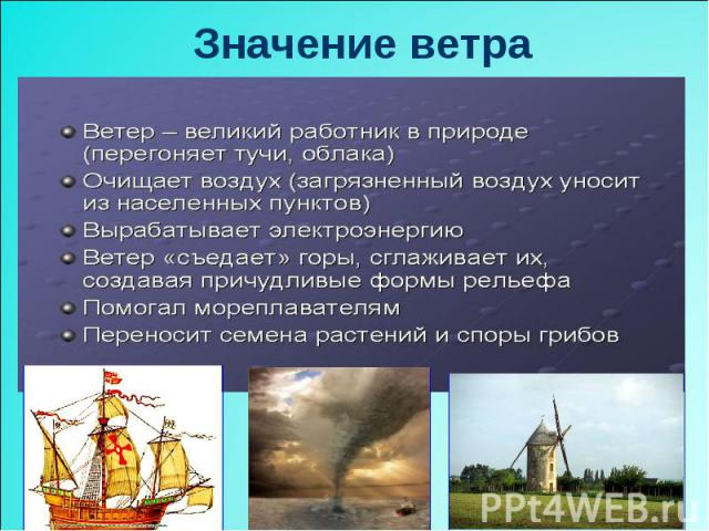 Значение ветра