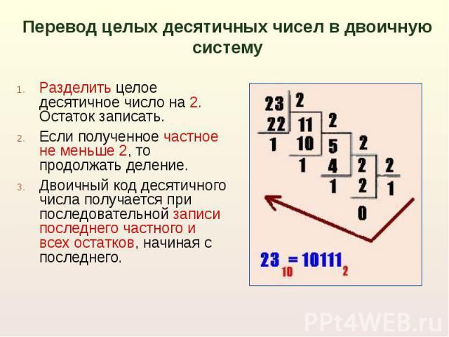 Перевод целых десятичных чисел в двоичную систему Разделить целое десятичное число на 2. Остаток записать. Если полученное частное не меньше 2, то продолжать деление.Двоичный код десятичного числа получается при последовательной записи последнего ча…