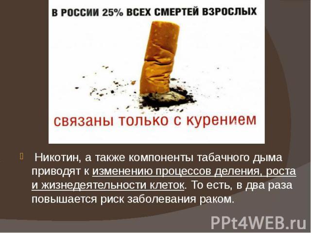 Никотин, атакже компоненты табачного дыма приводят кизменению процессов деления, роста ижизнедеятельности клеток. Тоесть, в два раза повышается риск заболевания раком.