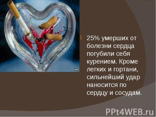 25% умерших от болезни сердца погубили себя курением. Кроме легких и гортани, сильнейший удар наносится по сердцу и сосудам.