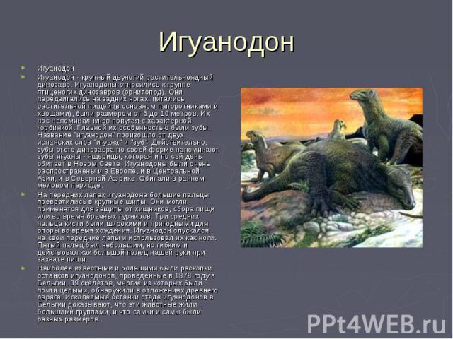 ИгуанодонИгуанодон - крупный двуногий растительноядный динозавр. Игуанодоны относились к группе птиценогих динозавров (орнитопод). Они передвигались на задних ногах, питались растительной пищей (в основном папоротниками и хвощами), были размером от …