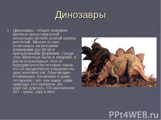 Динозавры Динозавры - общее название крупных представителей нескольких ветвей особой группы рептилий. Многие из них отличались гигантскими размерами (до 60 м) и причудливыми формами. Среди этих животных были и хищники, и растительноядные. Кто-то пер…
