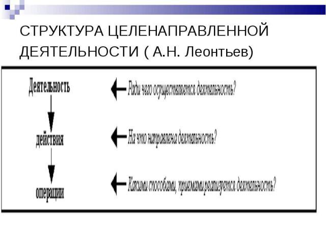 СТРУКТУРА ЦЕЛЕНАПРАВЛЕННОЙ ДЕЯТЕЛЬНОСТИ ( А.Н. Леонтьев)