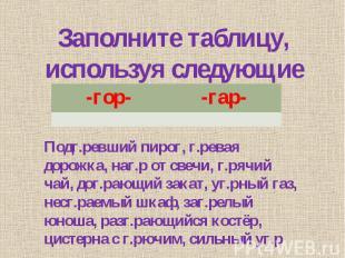 Заполните таблицу, используя следующие сочетания: Подг.ревший пирог, г.ревая дор