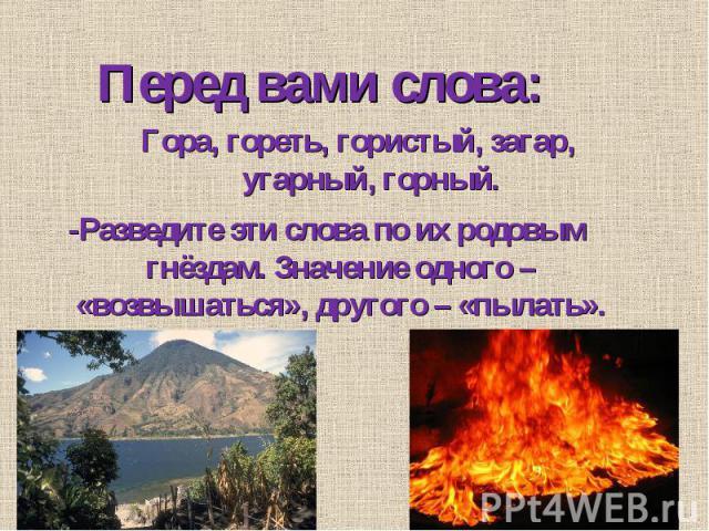 Перед вами слова: Гора, гореть, гористый, загар, угарный, горный. -Разведите эти слова по их родовым гнёздам. Значение одного – «возвышаться», другого – «пылать».