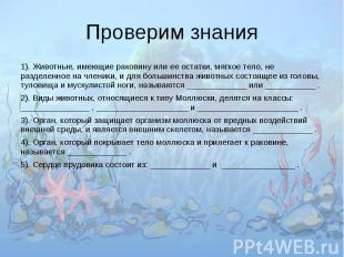 Проверим знания 1). Животные, имеющие раковину или ее остатки, мягкое тело, не р