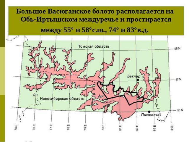 Большое Васюганское болото располагается на Обь-Иртышском междуречье и простирается между 55° и 58°с.ш., 74° и 83°в.д.