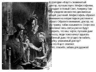 В трагедии «Фауст» знаменитый доктор, путешествуя с Мефистофелем, попадает в Нов