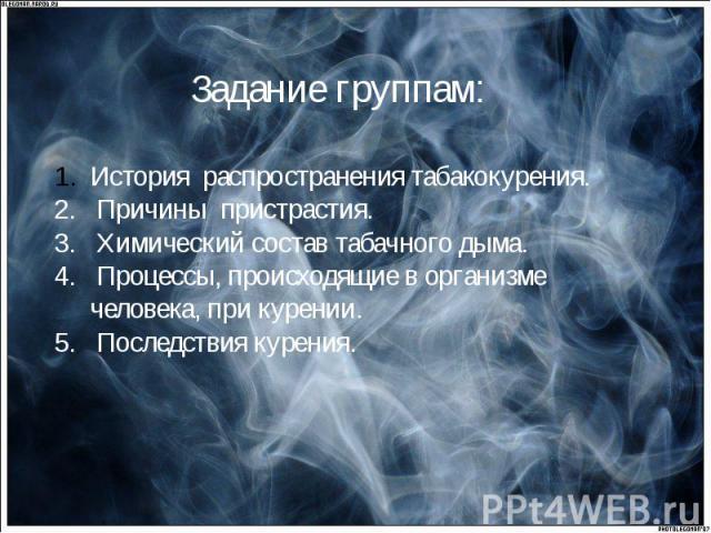 История распространения табакокурения.2. Причины пристрастия.3. Химический состав табачного дыма.4. Процессы, происходящие в организме человека, при курении.5. Последствия курения.