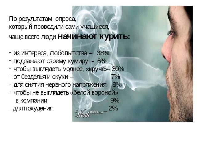 По результатам опроса,который проводили сами учащиеся,чаще всего люди начинают курить:из интереса, любопытства – 38%подражают своему кумиру - 6%чтобы выглядеть моднее, «круче»- 30%от безделья и скуки – 7% для снятия нервного напряжения – 8%чтобы не …