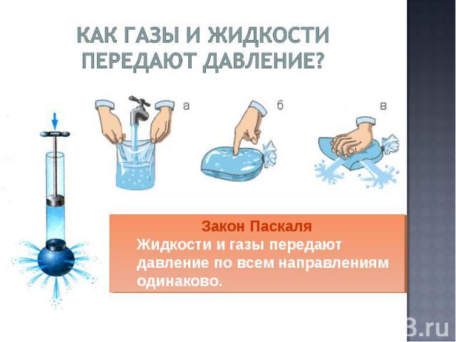 Как газы и жидкости передают давление? Закон ПаскаляЖидкости и газы передают давление по всем направлениям одинаково.