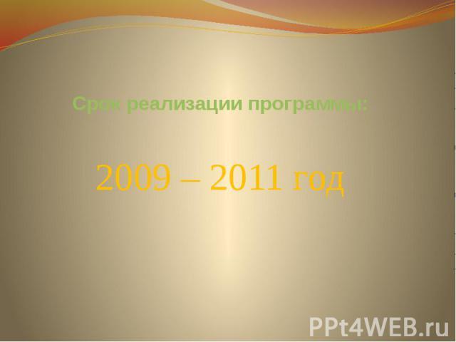 Срок реализации программы:2009 – 2011 год