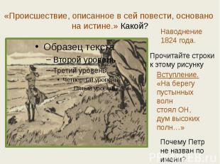 «Происшествие, описанное в сей повести, основано на истине.» Какой? Наводнение18