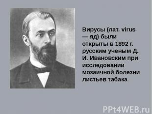 Вирусы (лат. virus — яд) были открыты в 1892 г. русским ученым Д. И. Ивановским