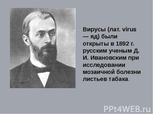 Вирусы (лат. virus — яд) были открыты в 1892 г. русским ученым Д. И. Ивановским при исследовании мозаичной болезни листьев табака.