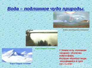 Вода – подлинное чудо природы. У Земли есть сплошная «водная» оболочка гидросфер