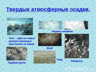 Твердые атмосферные осадки. Снег – один из самыхраспространенныхкристаллов на Зе