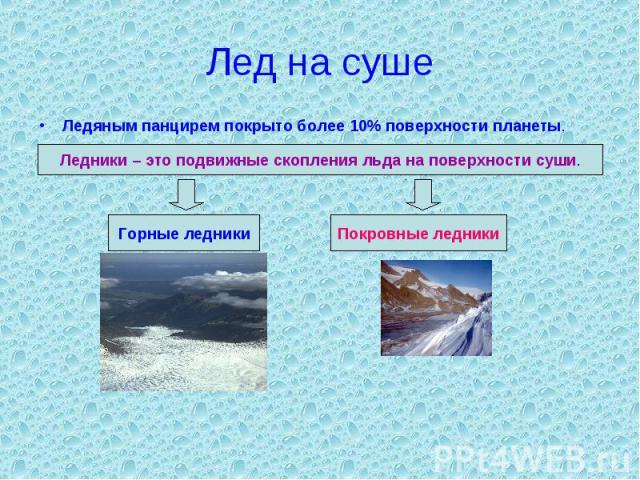 Лед на суше Ледяным панцирем покрыто более 10% поверхности планеты. Ледники – это подвижные скопления льда на поверхности суши.