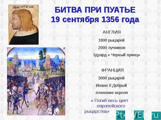 БИТВА ПРИ ПУАТЬЕ 19 сентября 1356 года АНГЛИЯ 1800 рыцарей 2000 лучников Эдуард « Черный принц» ФРАНЦИЯ 3000 рыцарей Иоанн II Добрый пленение короля « Погиб весь цвет европейского рыцарства»