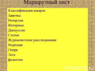 Маршрутный лист Классификация жанровЗаметкаРепортажИнтервьюДискуссияСтатьяЖурнал