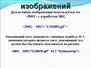 Для вставки изображения используется тэг с атрибутом SRC Поясняющий текст выводи