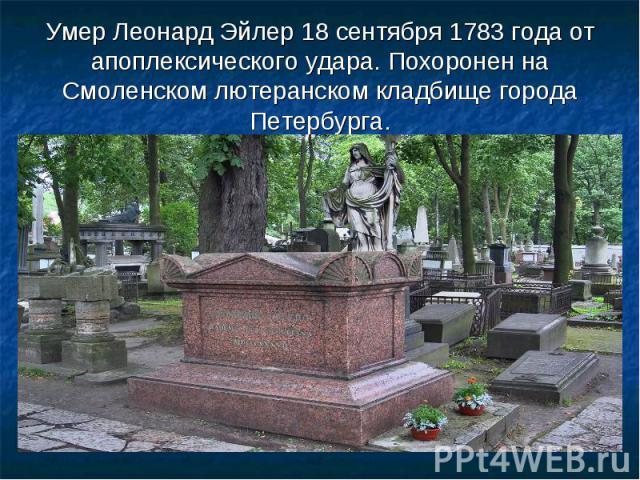 Умер Леонард Эйлер 18 сентября 1783 года от апоплексического удара. Похоронен на Смоленском лютеранском кладбище города Петербурга.