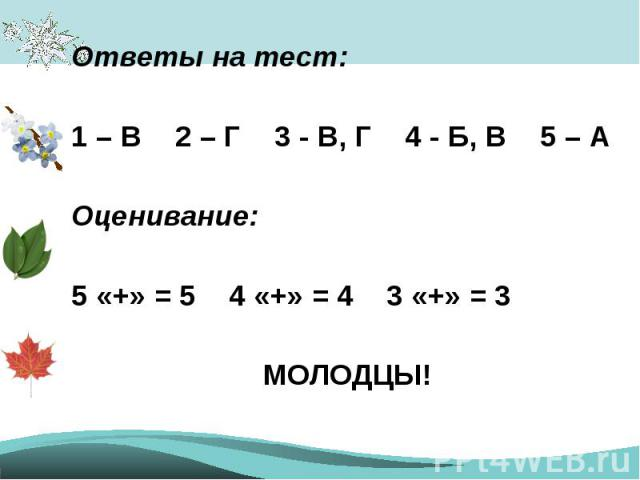 Ответы на тест:1 – В 2 – Г 3 - В, Г 4 - Б, В 5 – АОценивание:5 «+» = 54 «+» = 43 «+» = 3МОЛОДЦЫ!