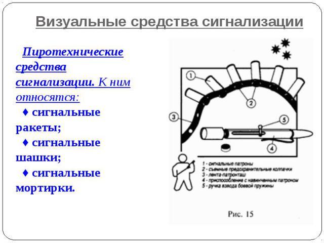 Визуальные средства сигнализации Пиротехнические средства сигнализации. К ним относятся:♦ сигнальные ракеты;♦ сигнальные шашки;♦ сигнальные мортирки.