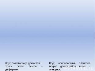 Круг, по которому движется точка около Земли – деферент. Круг, описываемый плане