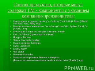 Список продуктов, которые могут содержат ГМ - компоненты с указанием компании-пр