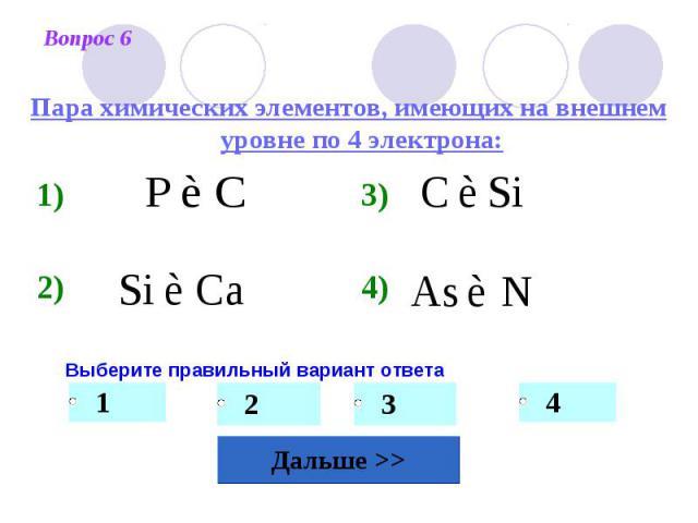 Пара химических элементов, имеющих на внешнем уровне по 4 электрона: Выберите правильный вариант ответа